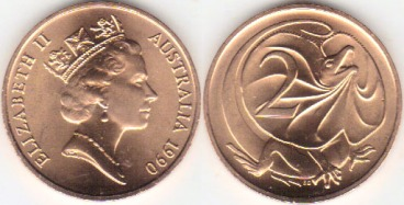 1990 Australia 2 Cents copy